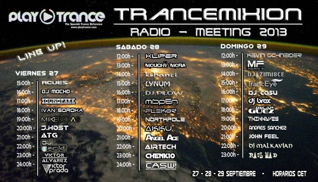Trancemixion Radio-Meeting 2013 Line-up