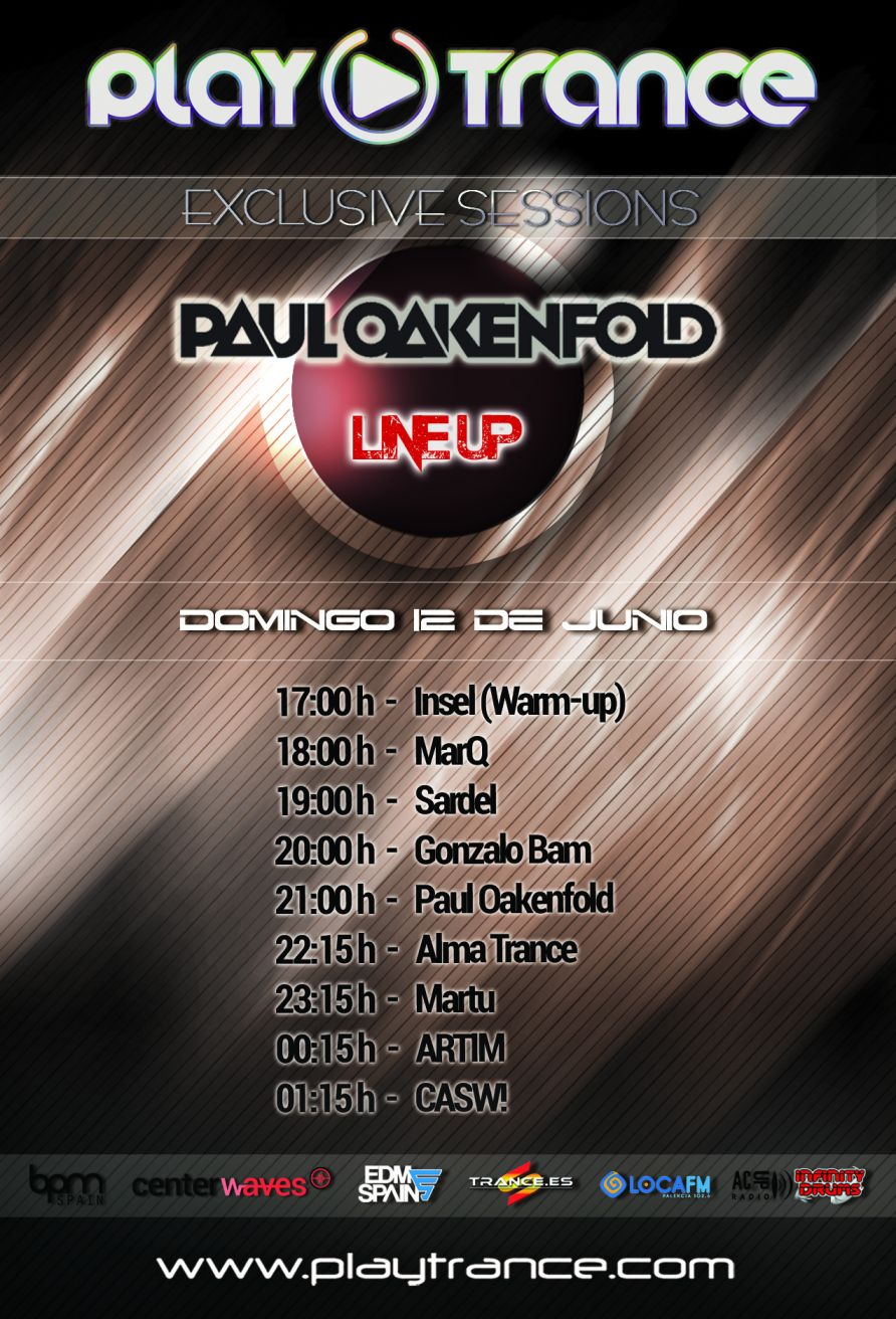 12 de junio: PlayTrance Exclusive Sessions 2016 con Paul Oakenfold + artistas invitados